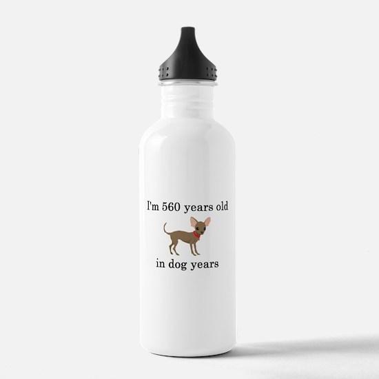 80 birthday dog years chihuahua Water Bottle