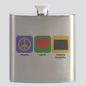Peace Love North Dakota Flask