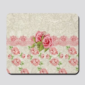 Vintage Pink and  Cream Rose Pattern Mousepad