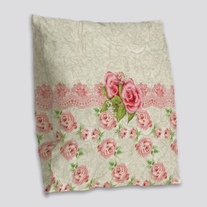 Vintage Pink and  Cream Rose P Burlap Throw Pillow