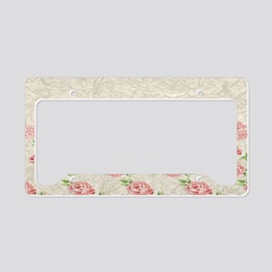 Vintage Pink and  Cream Rose  License Plate Holder