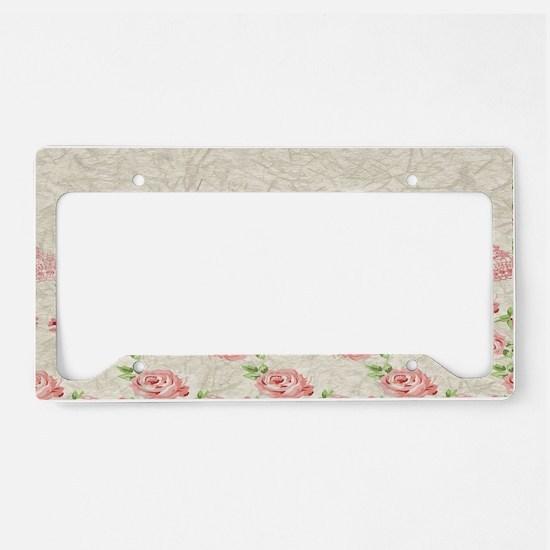 Vintage Pink and  Cream Rose  License Plate Holder