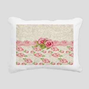 Vintage Pink and  Cream  Rectangular Canvas Pillow