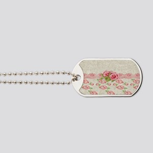 Vintage Pink and  Cream Rose Pattern Dog Tags