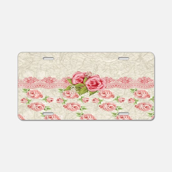 Vintage Pink and  Cream Ros Aluminum License Plate