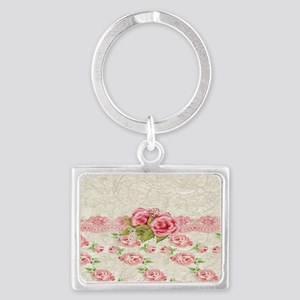 Vintage Pink and  Cream Rose Pa Landscape Keychain