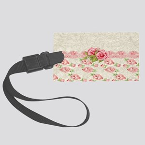 Vintage Pink and  Cream Rose Pat Large Luggage Tag