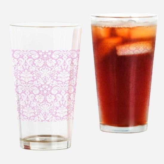 Pale Pink Damask Drinking Glass