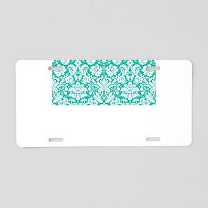 Turquoise Damask Aluminum License Plate