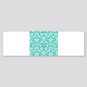 Turquoise Damask Bumper Sticker