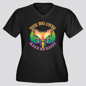 MGbeadsNboob Women's Plus Size Dark V-Neck T-Shirt