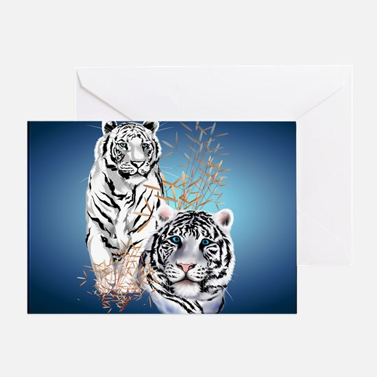 Two White Tigers Calender Greeting Card