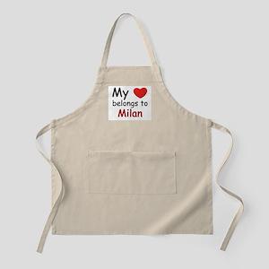 My heart belongs to milan BBQ Apron