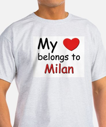 My heart belongs to milan Ash Grey T-Shirt