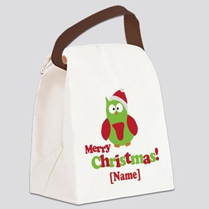 Personalized Merry Christmas Owl Canvas Lunch Bag