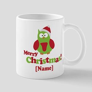 Personalized Merry Christmas Owl Mug