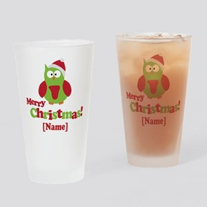 Personalized Merry Christmas Owl Drinking Glass