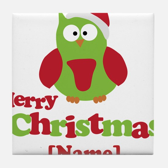Personalized Merry Christmas Owl Tile Coaster