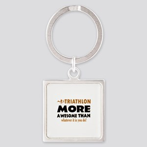 Triathlon is awesome designs Square Keychain