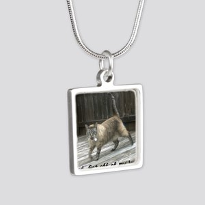 GetOffMyLawn Silver Square Necklace