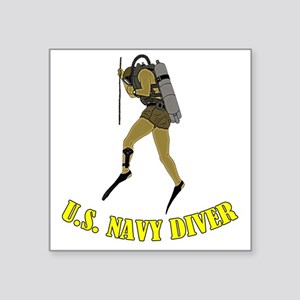 "Navy Diver SCUBA Square Sticker 3"" x 3"""