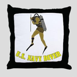 Navy Diver SCUBA Throw Pillow
