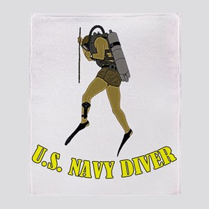 Navy Diver SCUBA Throw Blanket