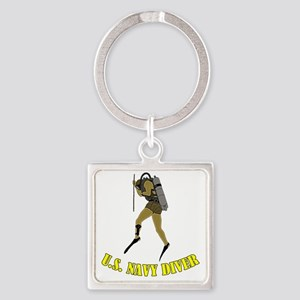 Navy Diver SCUBA Square Keychain