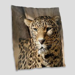 Leopard001 Burlap Throw Pillow