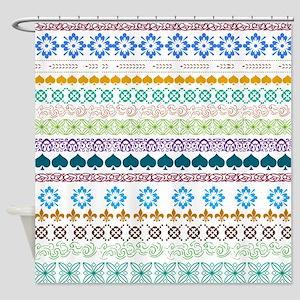 Decorative Folk Art Shower Curtain