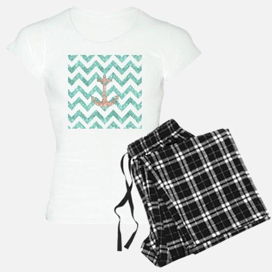 Coral Glitter Nautical Anch Pajamas