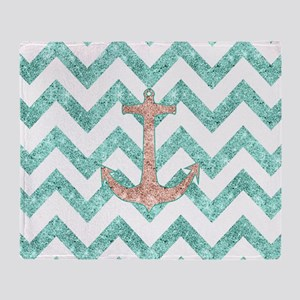 Coral Glitter Nautical Anchor Teal C Throw Blanket
