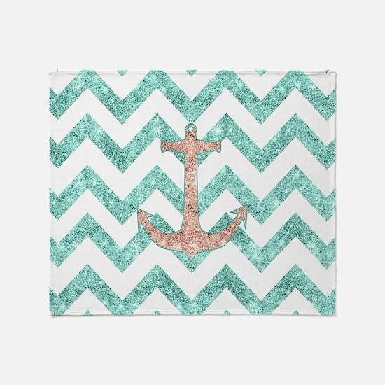Coral Glitter Nautical Anchor Teal C Throw Blanket