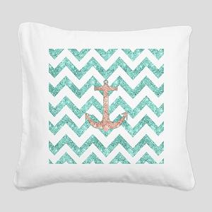 Coral Glitter Nautical Anchor Square Canvas Pillow