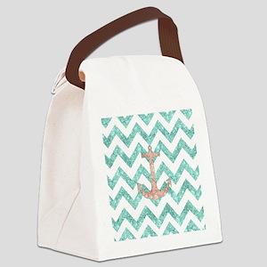 Coral Glitter Nautical Anchor Tea Canvas Lunch Bag