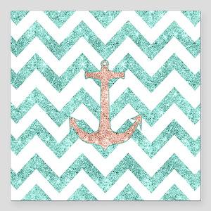 """Coral Glitter Nautical A Square Car Magnet 3"""" x 3"""""""