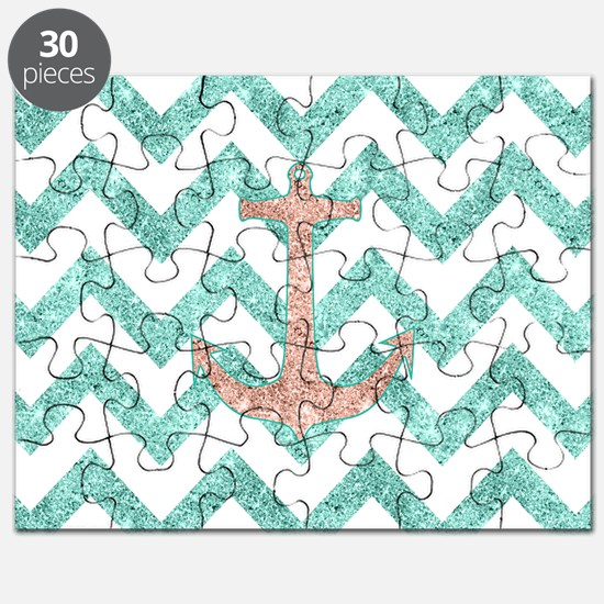 Coral Glitter Nautical Anchor Teal Chevron  Puzzle