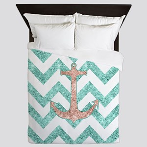 Coral Glitter Nautical Anchor Teal Che Queen Duvet