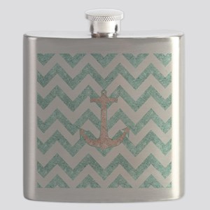 Coral Glitter Nautical Anchor Teal Chevron Z Flask