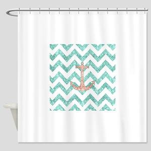Coral Glitter Nautical Anchor Teal  Shower Curtain