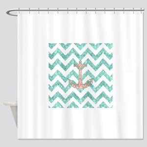 Coral Glitter Nautical Anchor Teal Shower Curtain