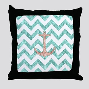 Coral Glitter Nautical Anchor Teal Ch Throw Pillow