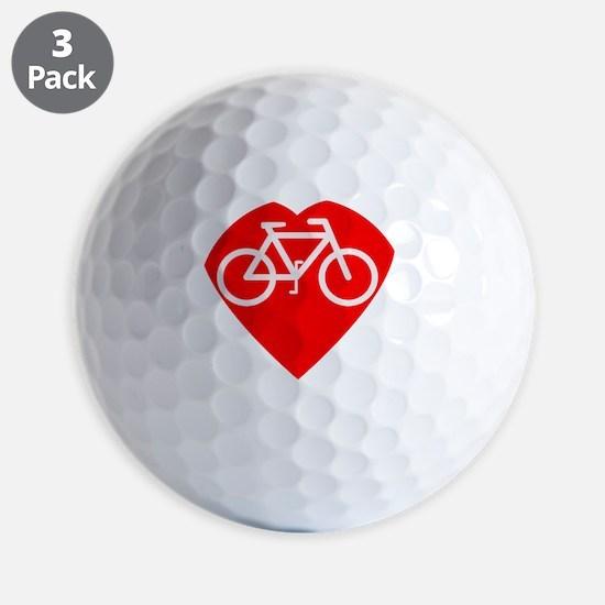 heart shape with bike inside Golf Ball
