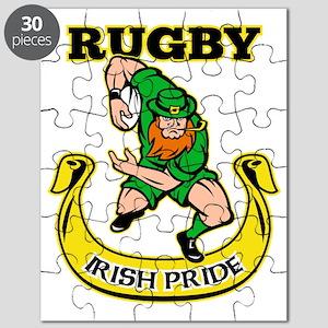 Irish leprechaun rugby player running ball Puzzle