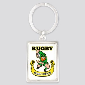 Irish leprechaun rugby player ru Portrait Keychain