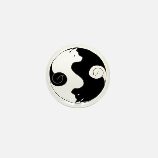 Ying Yang Akita Mini Button