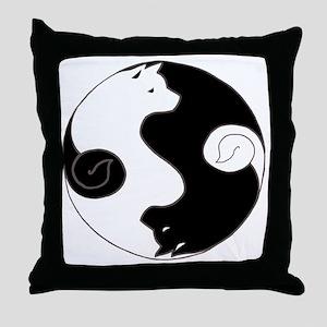 Ying Yang Akita Throw Pillow
