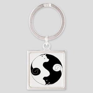 Ying Yang Akita Square Keychain