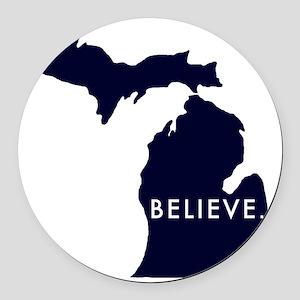 Believe in Michigan Round Car Magnet
