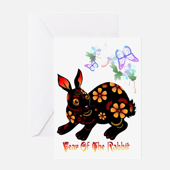 Year Of The Rabbit in Black Trans Greeting Card